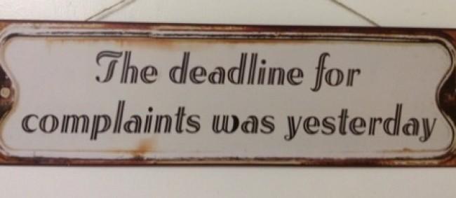 The Deadline For Complaints